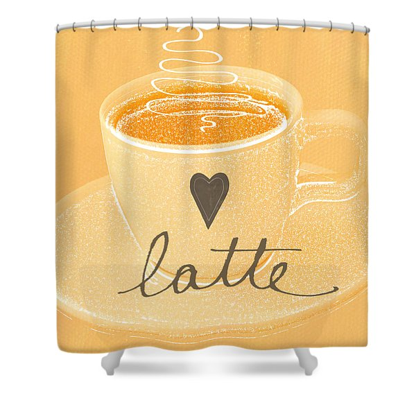 Latte Love In Orange And White Shower Curtain