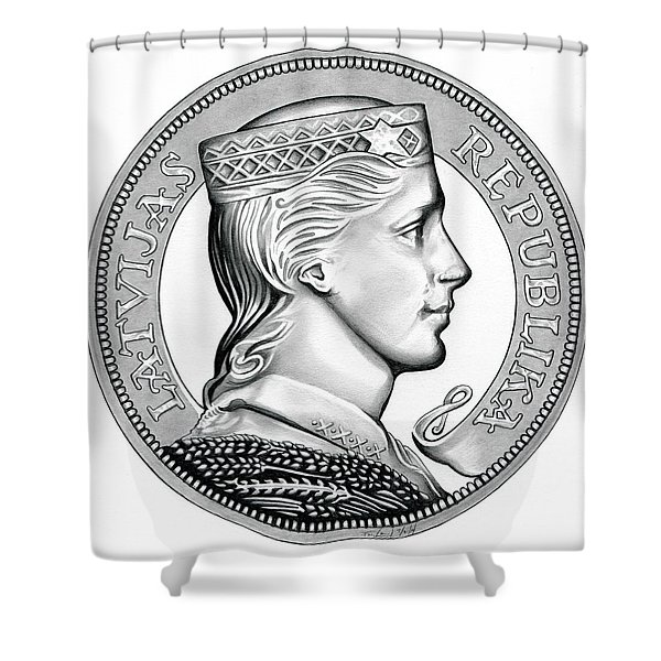 Latvia Crown Shower Curtain
