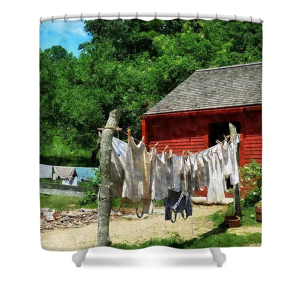 Laundry Hanging On Line Shower Curtain