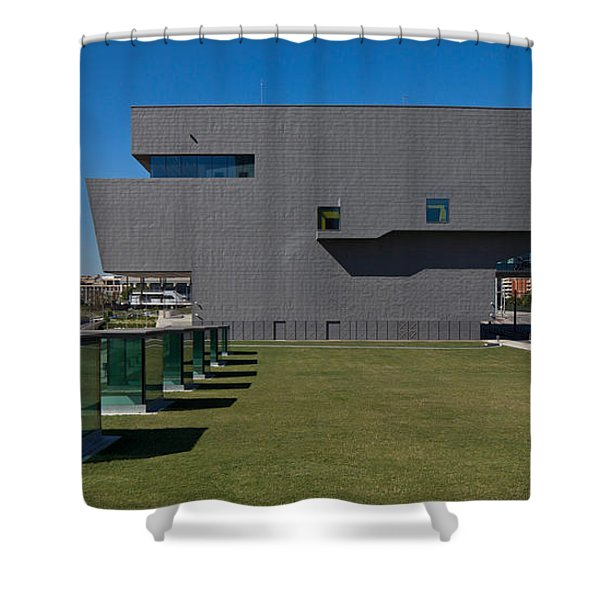 Lawn At A Museum, Disseny Hub Barcelona Shower Curtain
