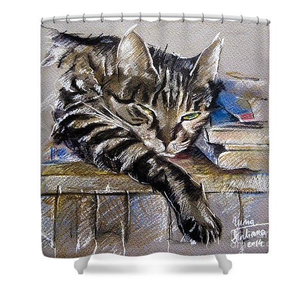 Lazy Cat Portrait - Drawing Shower Curtain