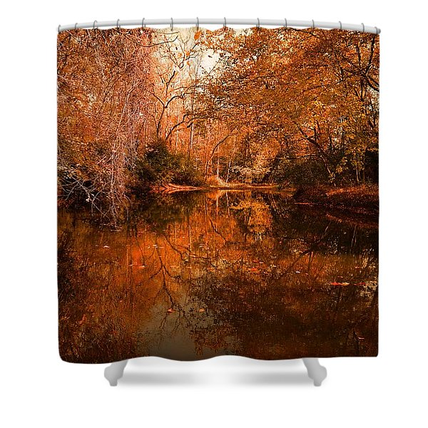 Lazy River Autumn Shower Curtain