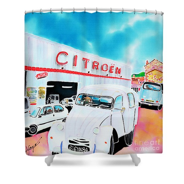 Le Garage Shower Curtain