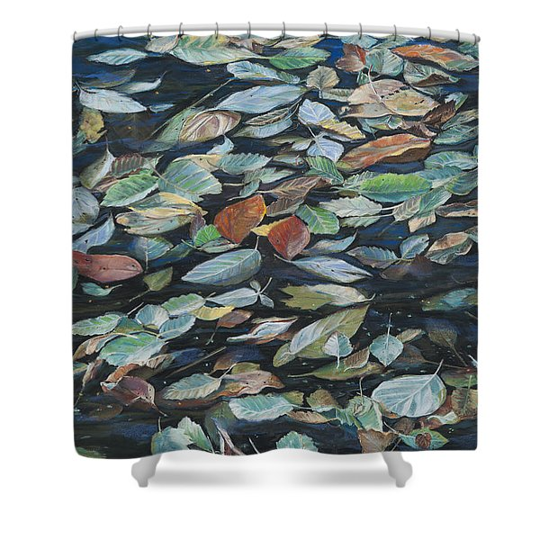 Leaves On Pond Shower Curtain
