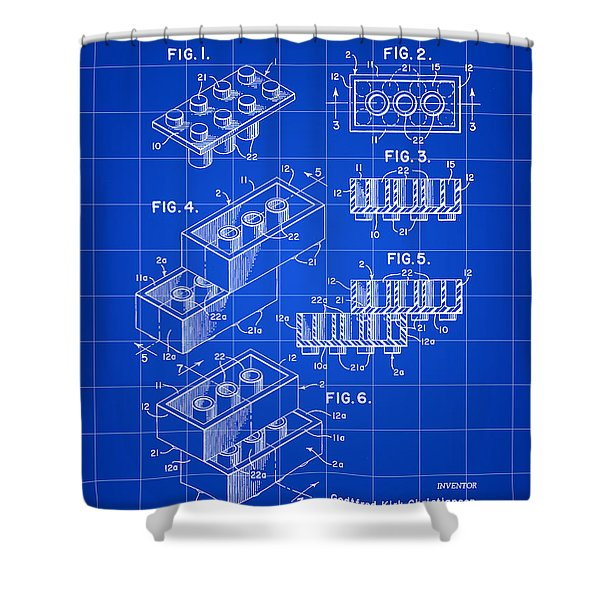 Lego Patent 1958 - Blue Shower Curtain