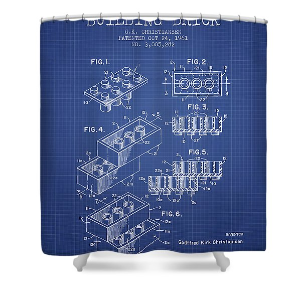 Lego Toy Building Brick Patent From 1961 - Blueprint Shower Curtain