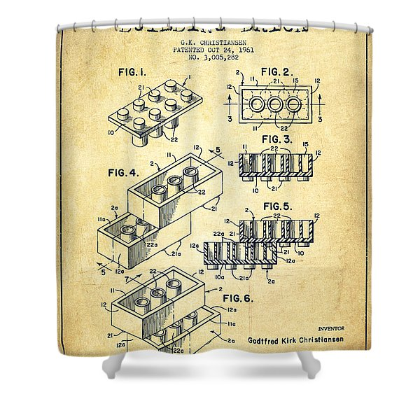 Lego Toy Building Brick Patent - Vintage Shower Curtain