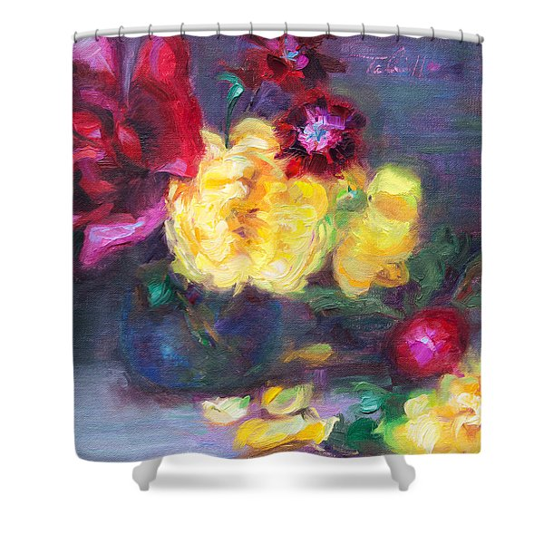 Lemon And Magenta - Flowers And Radish Shower Curtain