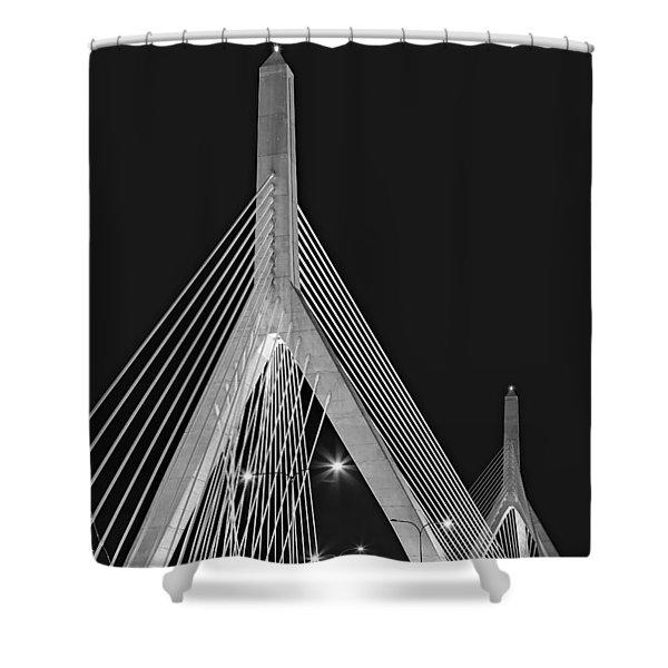 Leonard P. Zakim Bunker Hill Memorial Bridge Bw II Shower Curtain