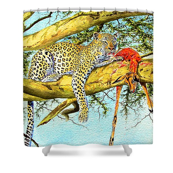 Leopard With A Kill Shower Curtain