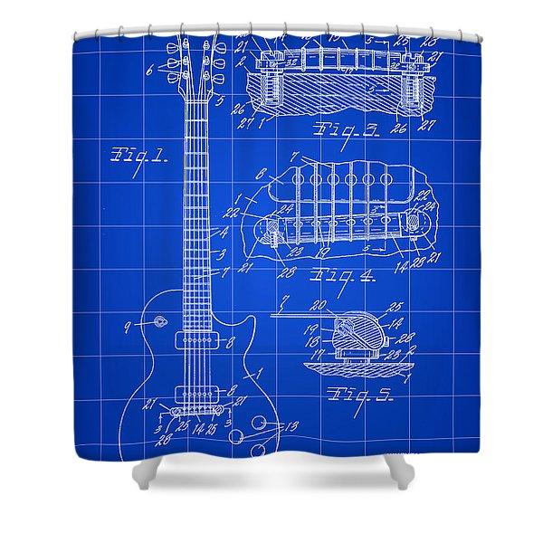 Les Paul Guitar Patent 1953 - Blue Shower Curtain
