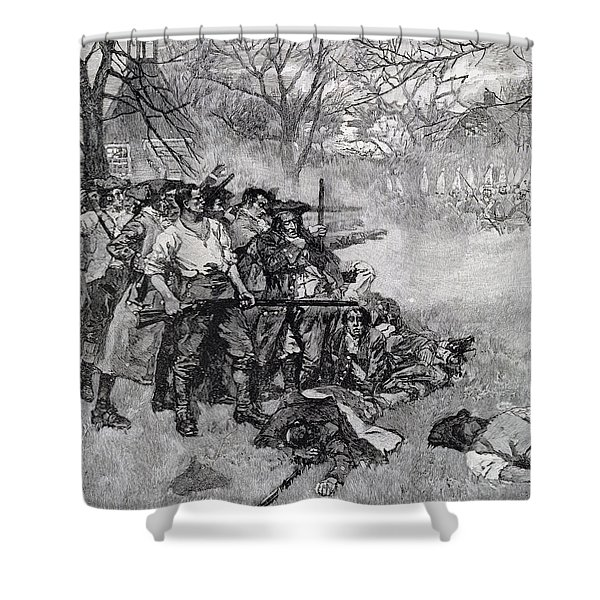 Lexington Green - If They Want War, It May As Well Begin Here, Engraved By F.h. Wellington Shower Curtain
