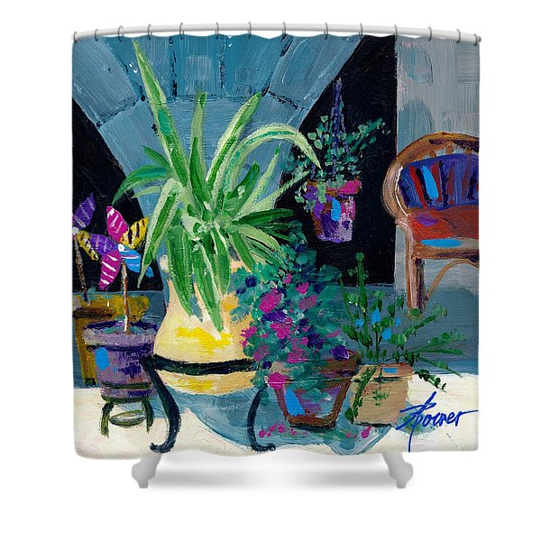 Library Courtyard-rhodes Old Town Shower Curtain