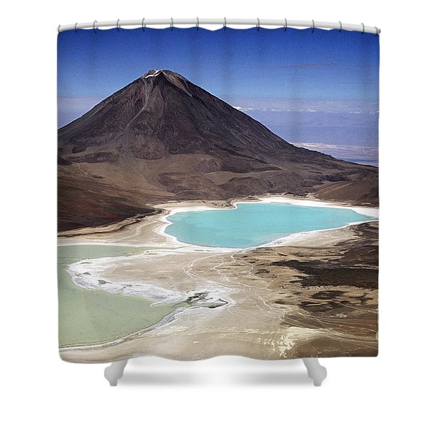 Licancabur Volcano And Laguna Verde Shower Curtain