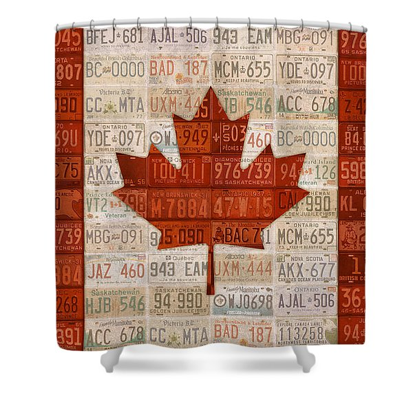 License Plate Art Flag Of Canada Shower Curtain