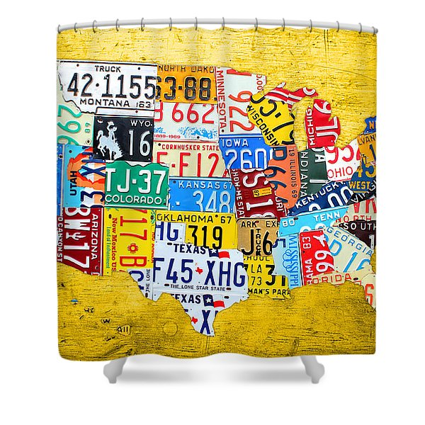 License Plate Art Map Of The United States On Yellow Board Shower Curtain