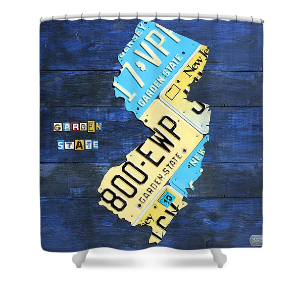 License Plate Map Of New Jersey V2 By Design Turnpike Shower Curtain
