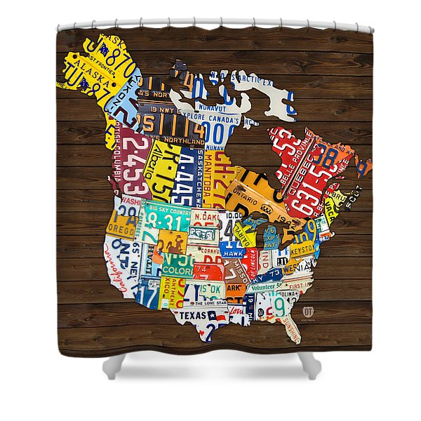 License Plate Map Of North America - Canada And United States Shower Curtain