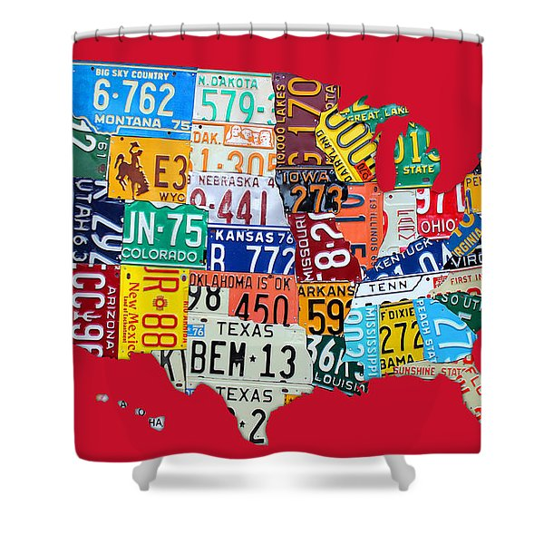 License Plate Map Of The United States On Bright Red Shower Curtain