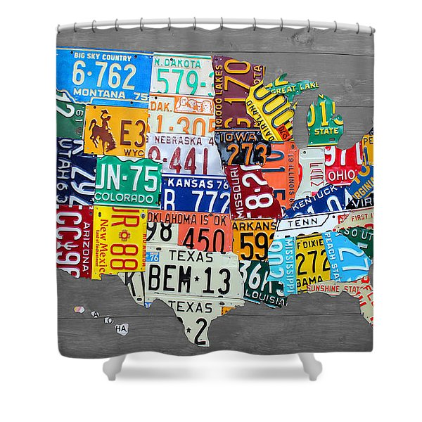 License Plate Map Of The United States On Gray Wood Boards Shower Curtain