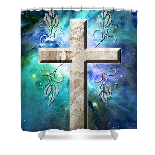 Life In Blue Shower Curtain
