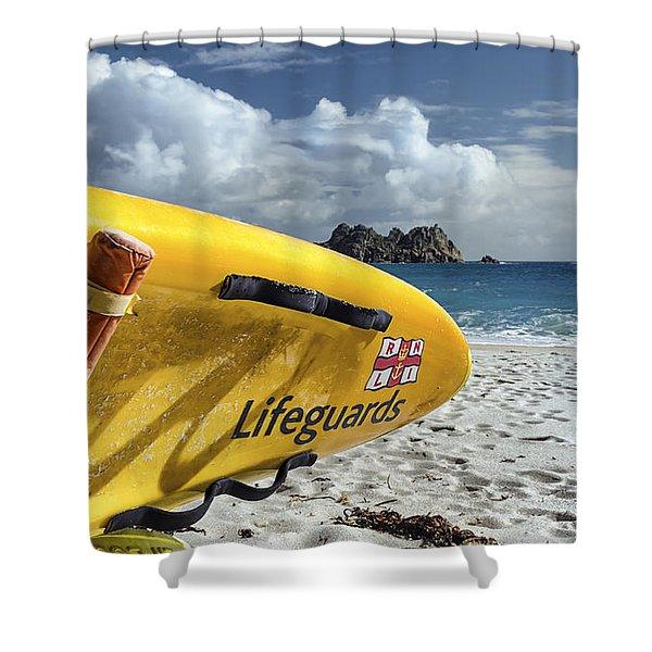 Surfboard In Cornwall Shower Curtain