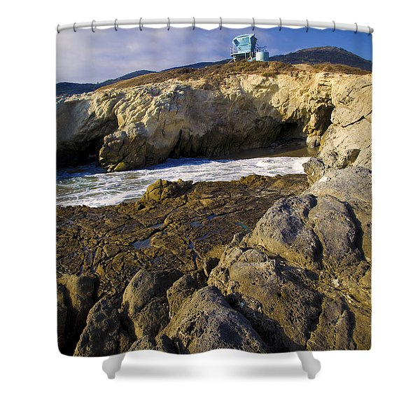 Shower Curtain featuring the photograph Lifeguard Tower On The Edge Of A Cliff by David Millenheft