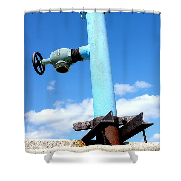 Light Blue Pipe Industrial Decay Series No 005 Shower Curtain