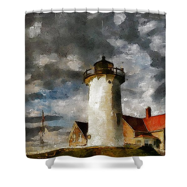 Light House In A Storm Shower Curtain