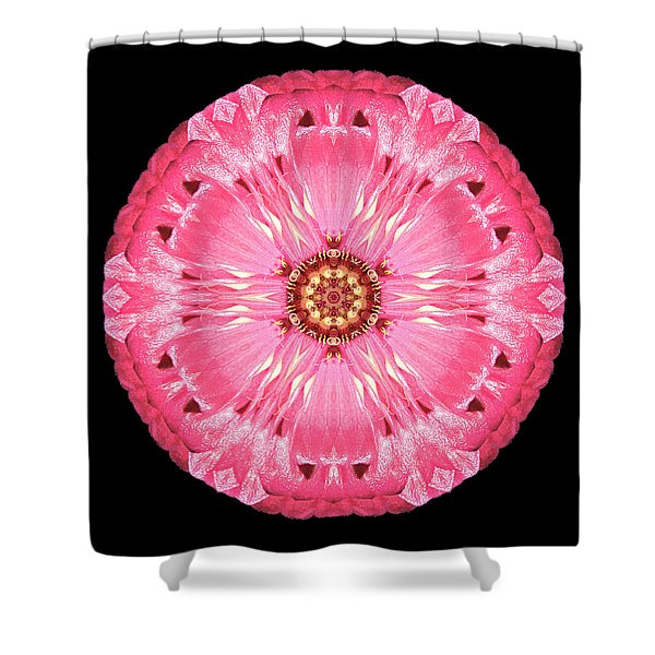 Light Red Zinnia Elegans Flower Mandala Shower Curtain