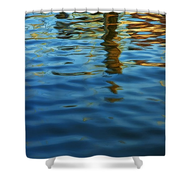 Light Reflections On The Water By A Dock At Aransas Pass Shower Curtain