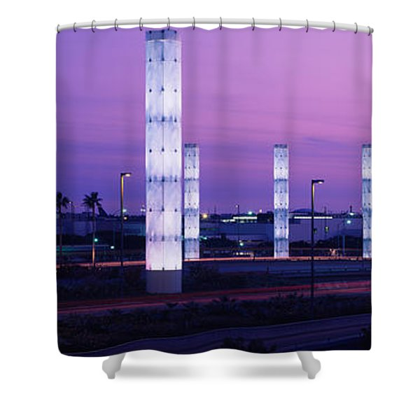 Light Sculptures Lit Up At Night, Lax Shower Curtain