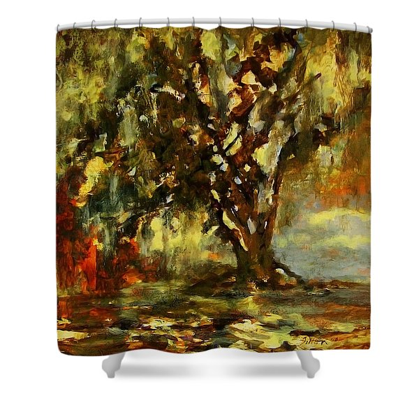 Light Through The Moss Tree Landscape Painting Shower Curtain