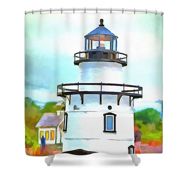 Lighthouse At Old Saybrook Point Shower Curtain