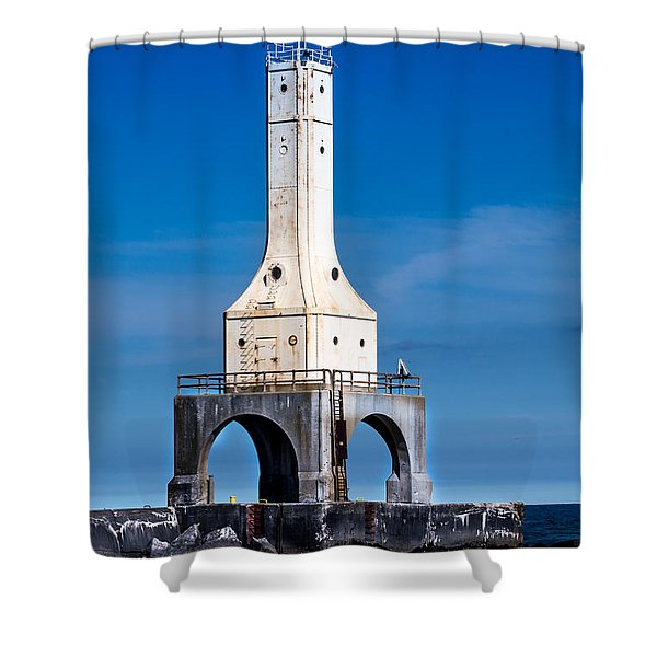 Lighthouse Blues Vertical Shower Curtain