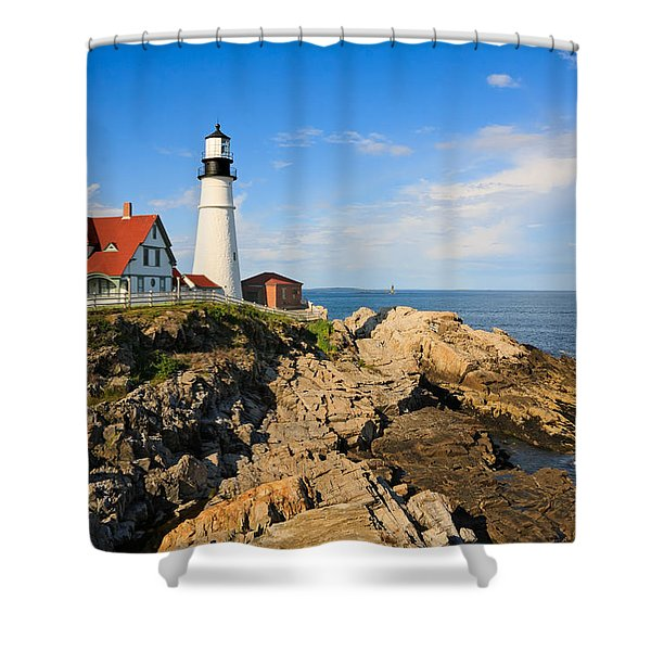Lighthouse In The Sun Shower Curtain