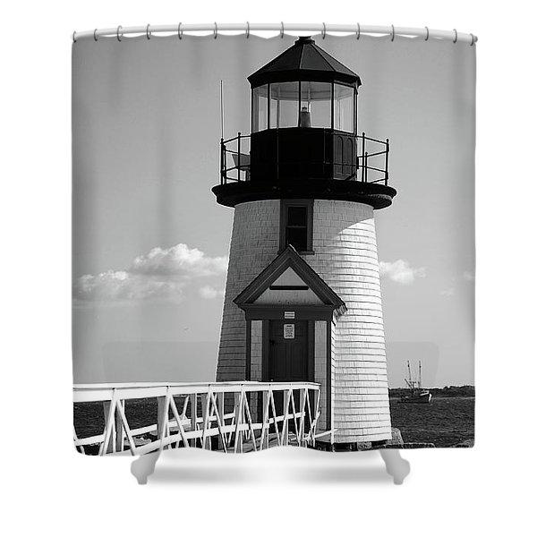 Lighthouse On Nantucket Bw Shower Curtain