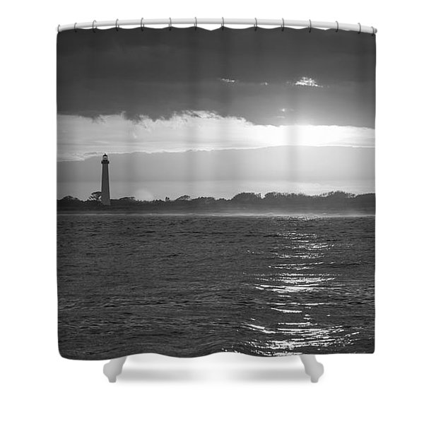 Lighthouse Sun Reflections Bw Shower Curtain