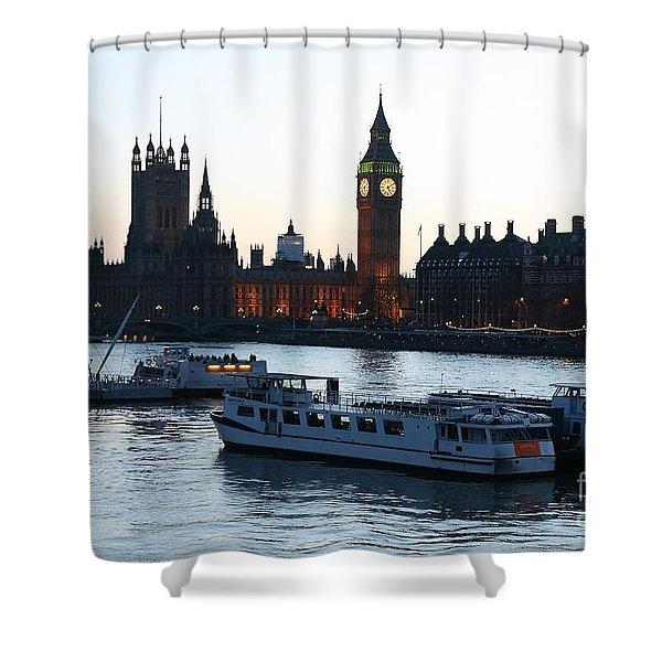 Lighting Up Time On The Thames Shower Curtain