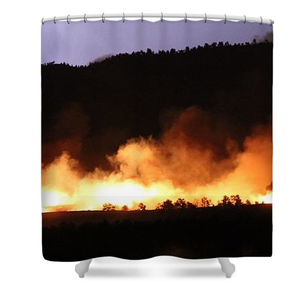 Lightning During Wildfire Shower Curtain