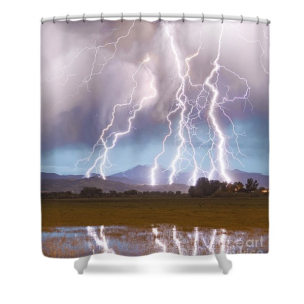 Lightning Striking Longs Peak Foothills 4c Shower Curtain