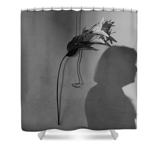 Lily And Male Figure Shadow Shower Curtain