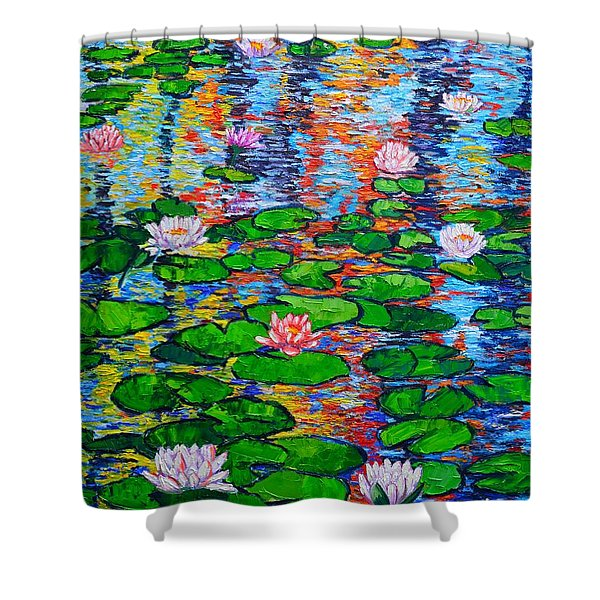Lily Pond Colorful Reflections Shower Curtain
