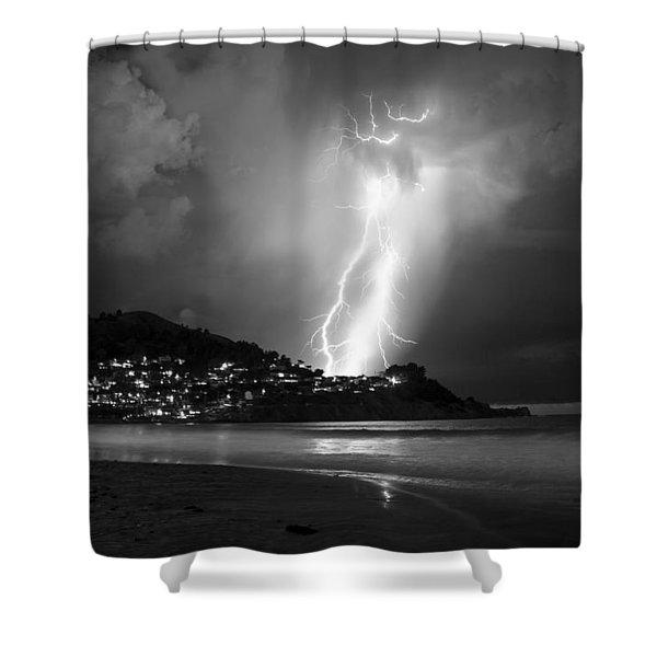 Linda Mar Lightning Shower Curtain