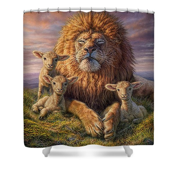 Lion And Lambs Shower Curtain