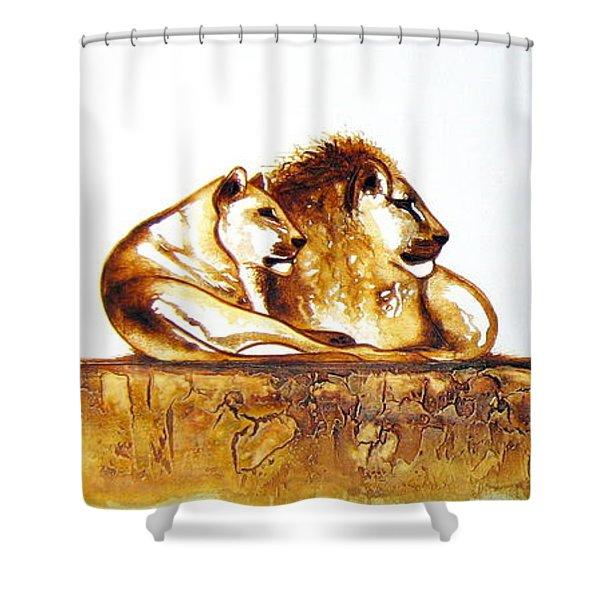 Lion And Lioness - Original Artwork Shower Curtain