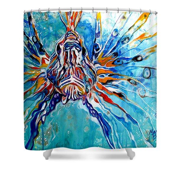 Lion Fish Blue Shower Curtain