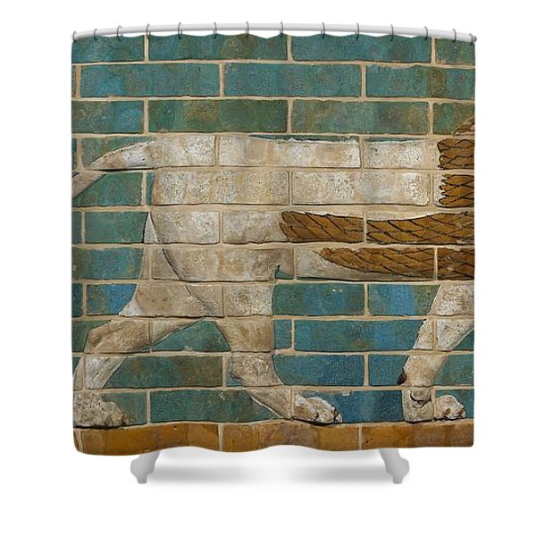 Lion Relief From The Processional Way In Babylon Shower Curtain