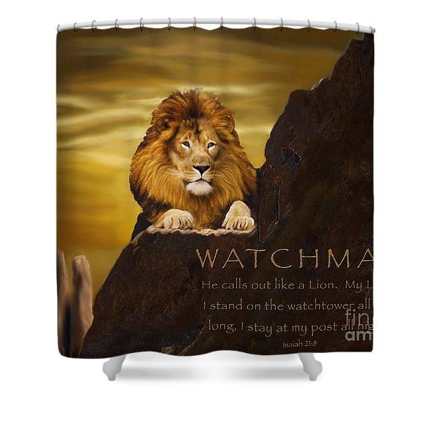 Lion Watchman Shower Curtain