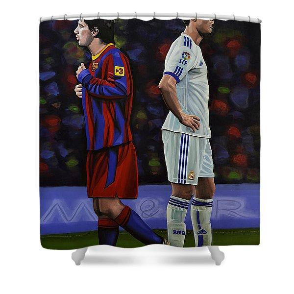 Lionel Messi And Cristiano Ronaldo Shower Curtain